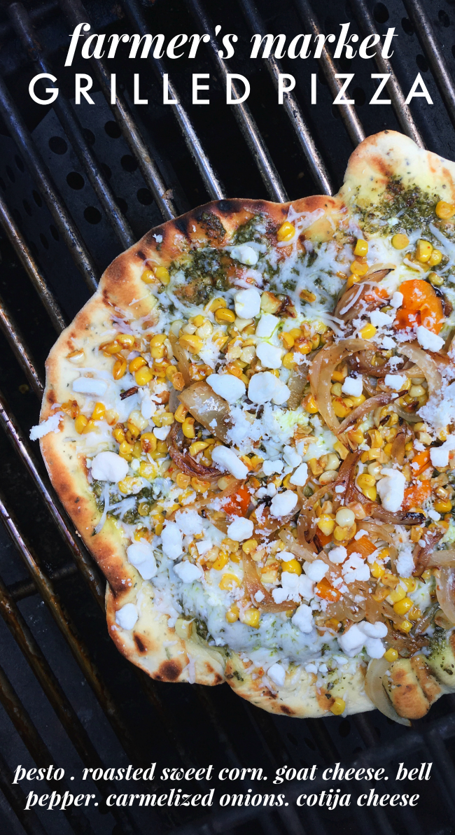 farmer's market grilled pizza with pesto, goat cheese, carmelized onions, bell peppers, and grilled sweet corn