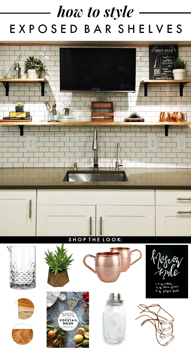 how to style exposed bar shelving |  la petite farmhouse