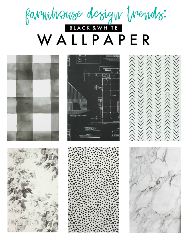 modern farmhouse design trends: black & white wallpaper | la petite farmhouse