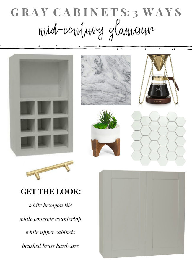 Gray Cabinets: 3 Ways  Mid-Century Glam