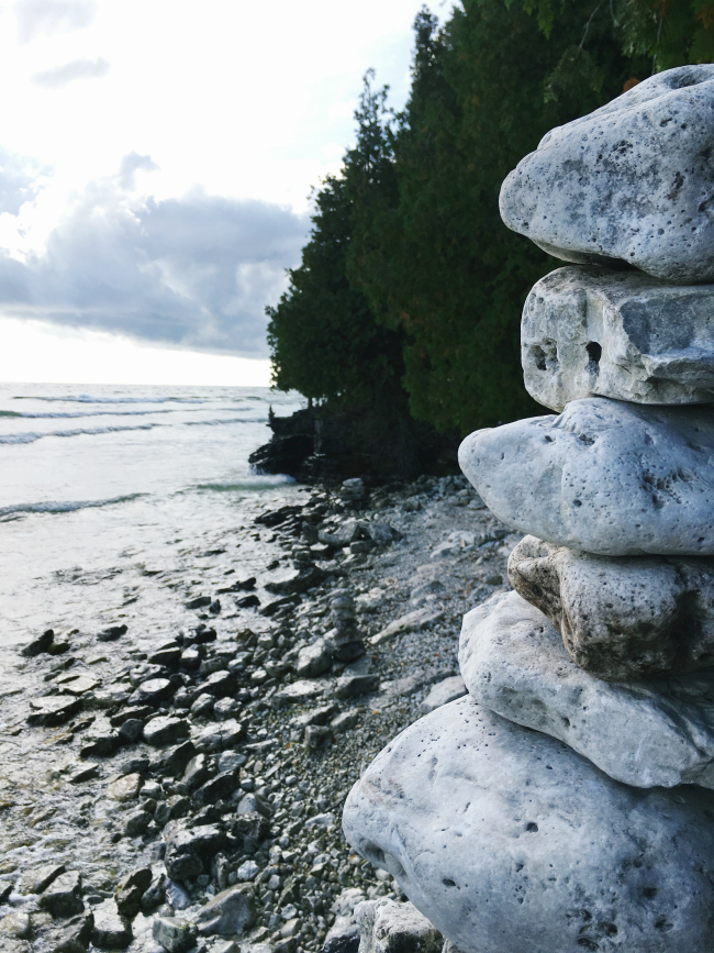 balancing rocks on the shores of Lake Michigan