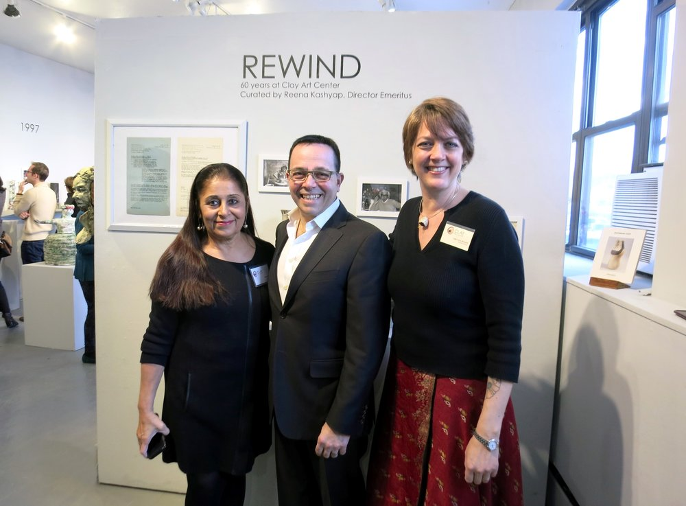 Reena Kashyap (Director Emeritus & Curator), Dennis Pilla (Port Chester Mayor), Leigh Taylor Mickelson (Executive Director)