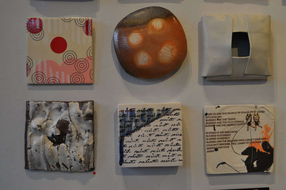 1. Meredith Host,  Dot Dot Circle Tile  $60 2. Tara Wilson,  Tile  $150 3. Mary Kay Botkins,  Blue Tile   $40 4. Julie Buyon,  Emergence 3  SOLD 5. Andrew Coombs,  Resist - Script  SOLD 6. Dustin Yager,  Composition 1  $120