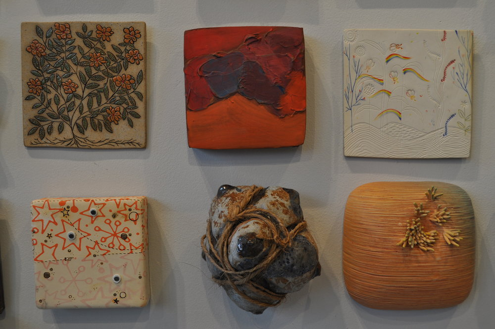 1.  Lorna Awalt,  Orange Flower II  $45  2.  Marty Fielding,  Progression #3  $100  3. Liz Quackenbush  Earth  $60  4.  Jason Burnett,  Star Light/ Star Bright  $125  5 . Mark Chatterley,  Bound  $125  6.  Angela Cunningham,  Untitled  $300