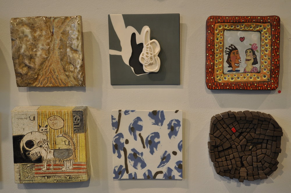 1.  Deborah Heid, River $65  2.  Shalya Marsh,  Iteration Study 4  $250  3.  Jane Cohen,  Lovely Dove (square brown frame)  SOLD  4. Sheryl Zacharia,  Opposites attract  $200  5.  Dalia Berman,  Untitled  $65  6.  Harold  Silverman,  Vermilion Spot #1  $90
