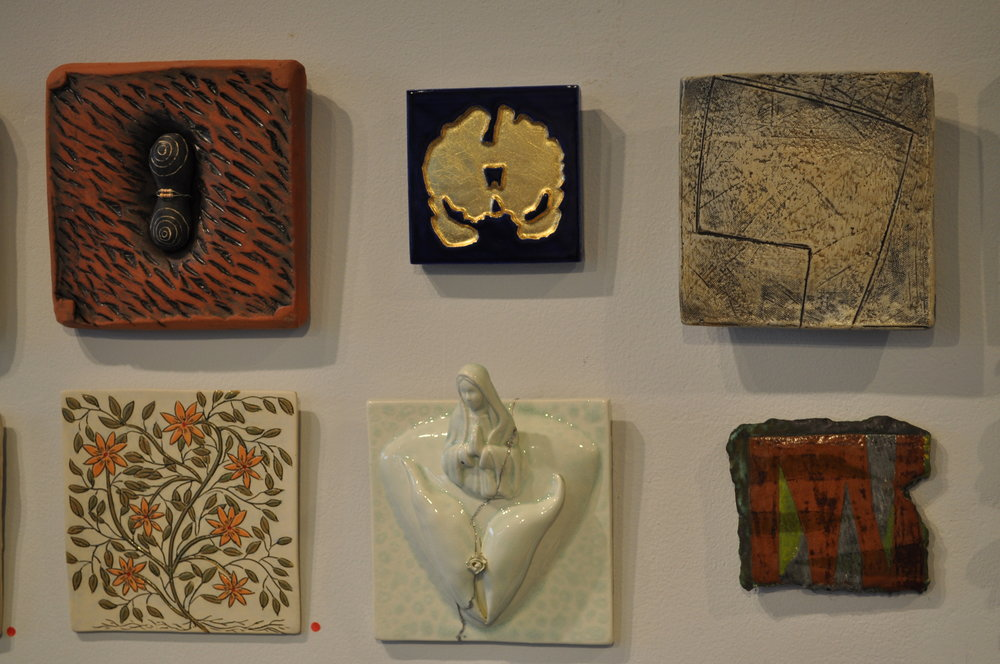 1.  Kathy Triplett,  Connection  $125  2.  Bri Murphy,  Coronal Slice Geode Tile (Blue-Edition 3 of 3)  $200  3.  Mary Barringer,  Tile/plate  $100  4 .Lorna Awalt,  Orange Flower  SOLD  5. Anne Mulford,  Worship  $125  6.  Linda Casbon,  Fragment 1  $45
