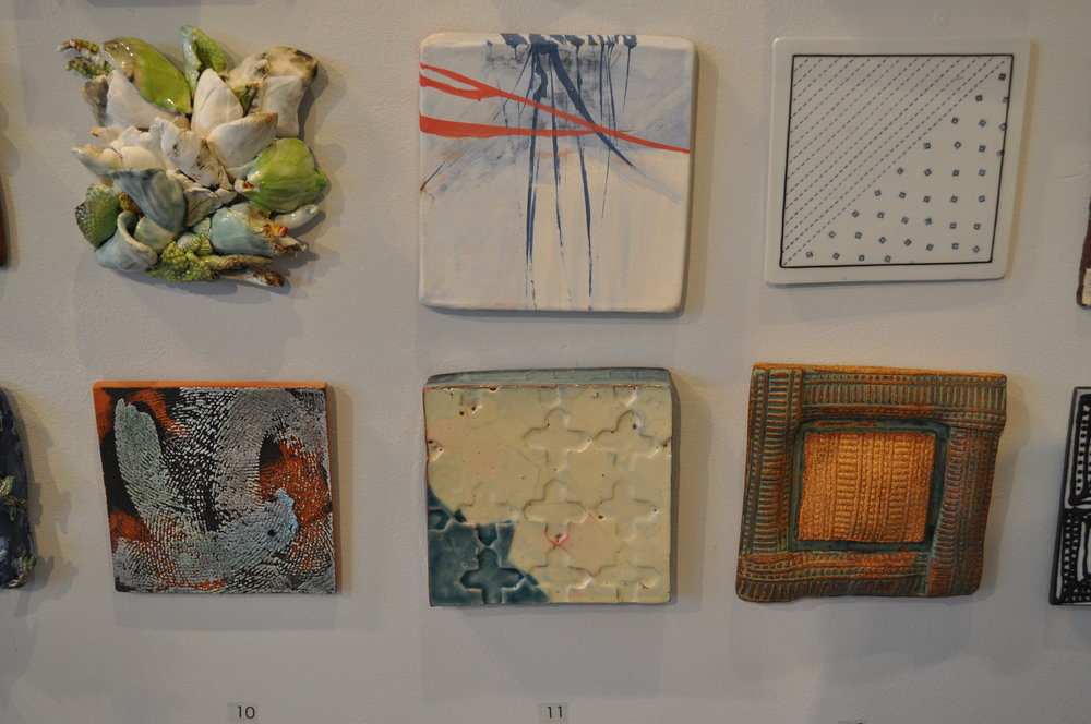 1 . Susan Wortman,  Untitled $425  2 .  Lily Schor,  Brush Word  $150  3.  Nan Coffin,  Dotted Lines & Squares   $40  4.  Monique Corbat Brooks,  Cosmos 1  $50    5  .  Martina Lantin,  Star Stamp Tile  $68  6.  Peter Arnow,  Untitled  $50