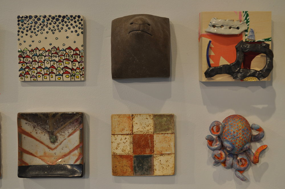 "1.  Emily Free Wilson,  Community 4  $100  2.  Undine Brod,  Parts 1  $325  3 . Victoria Christen,  Cherry Blossoms  $45  4.  Matthew Hyleck,  Tile 6"" x 6"" - Chevron  (SOLD)    5.  Paula Cook,  Untitled  $45  6.  Mary Cloonan,  Octopi II  $175"