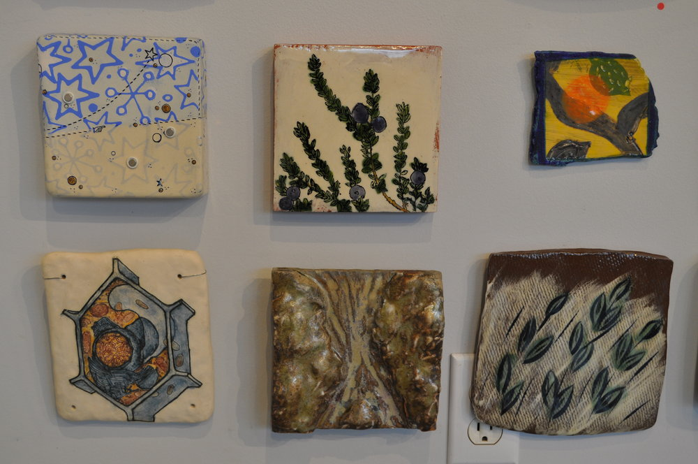 1.  Jason Burnett,  Star Light/ Star Bright  $125  2.  Ursula Hargens,  Small Tile (Black Crowberry)  $100  3.  Linda Casbon,  Untitled  $45   4.  Judy Moonelis, Cell 2 (Plant/Eukaryotic)   $1000  5.  Deborah Heid,  River 2  $65  6.  Nate Willever,  Fish Tile  $40
