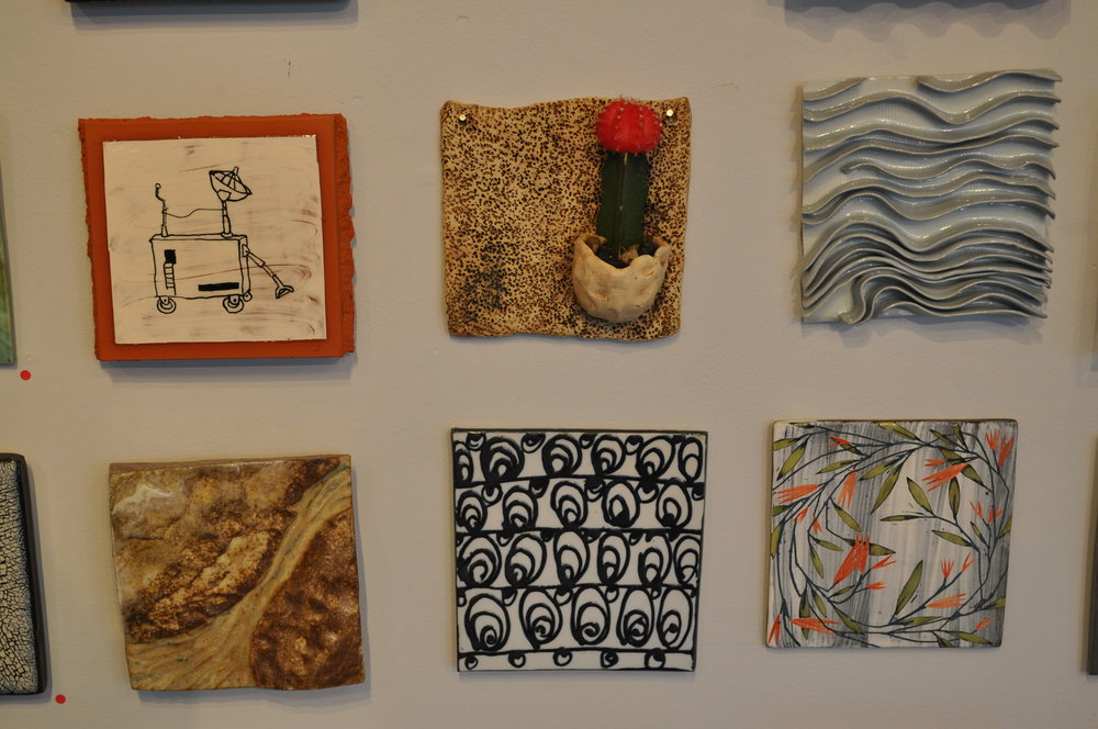 1 . Matthew Wilt,  Obsolete Machine  $150  2.  Leigh Taylor Mickelson,  Tile Planter  $70  3.  Dalia Berman,  Untitled  $65  4.  Deborah Heid,  River 4    $65  5.  Reena Kashyap,  Swirls  $50  6.  Brenda Quinn,  Wreath of Branches  $45