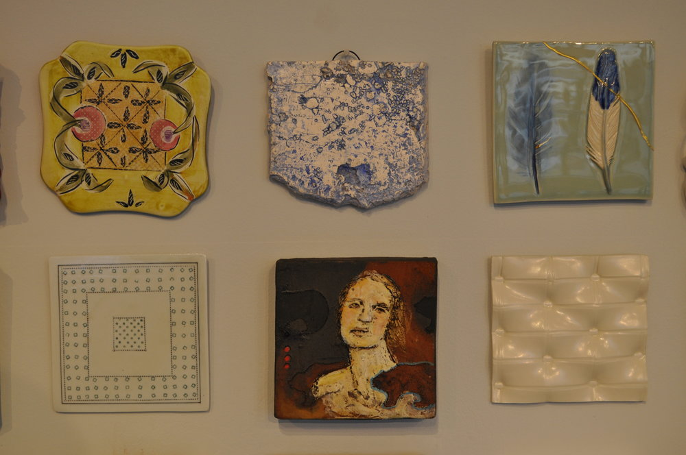 1.  Posey Bacopoulos,  Gold Grid Tile  $60  2.  Max Seinfeld,  Compostion Study  $50  3. Kelly O'Sullivan,  Ghosts Alongside Us  $90  4.  Nan Coffin,  Square Within A Square  $40  5.  Debra Fritts,  Rebirth 2  $295  6 . Kyla Toomey,  Untitled  $65
