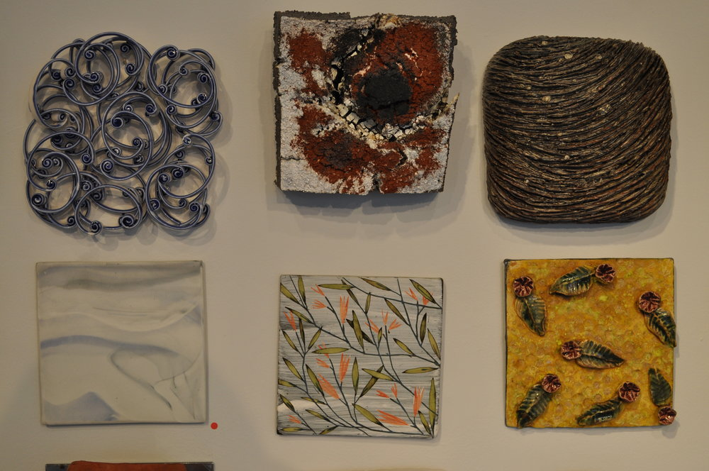 1.  Michelle Tobia,  Untitled  $150  2.  Adam Knoche,  Fault Line  $200  3.  Angela Cunningham,  Untitled  $300  4.  Jennifer Cherpock,  Ocean Waves 3  (SOLD)  5.  Brenda Quinn,  Branches  $45  6.  Lucy Breslin,  Tile 2  $80