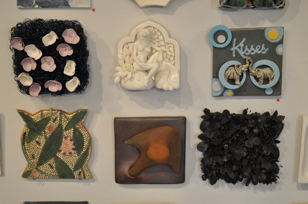 1.  Blake Williams,  Night  $150  2.  Crystal Morey,  Entagled Wonder: Brown Bear with New Growth  $795  3.  Sally Ng,  Kisses  (SOLD)  4.  Gail Kendall,  Leaves & Seeds 1  (SOLD)  5.  Deborah Lecce,  Arrow Tile  $90   6 . Rain Harris,  Jardin Noir 3  (SOLD)