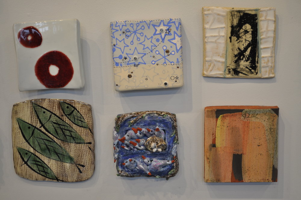 1.  Sarah Koster,  Untitled  $60  2.  Jason Burnett,  Star Light/ Star Bright - Blue Sky  $125  3.  Helayne Friedland,  Branches tile 3  $75  4.  Nate Willever,  Leaf Tile  $40  5.  Sue Anne Heller,  Birds in Nests  $30  6.  Nicholas Bernard,  Tile  $50