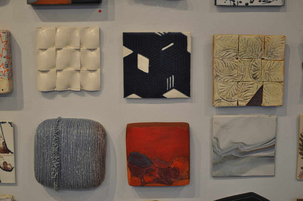 1.  Kyla Toomey,  Untitled  $75  2.  Debra Holiber,  Tile 2  $65  3.  Myra Bowie,  Tic Tac Tile #1  $45  4.  Angela Cunningham,  Untitled  $300  5.  Marty Fielding,  Progression #4  $100  6 . Jennifer Cherpock,  Ocean Waves  4 $60