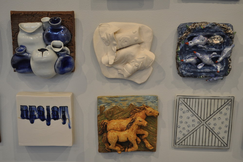 1.  Jeanne Carreau,  Blue & White 5 Bottles  $95  2.  Luanne Morse,  Peach    $50  3.  Sue Anne Heller,  6 Birds  $30  4.  Andrew Coombs,  Resist - Large  $80  5.  Grace Fraioli,  Wild Horses 2  $600  6 . Nan Coffin,  X With Lines & Squares  $40