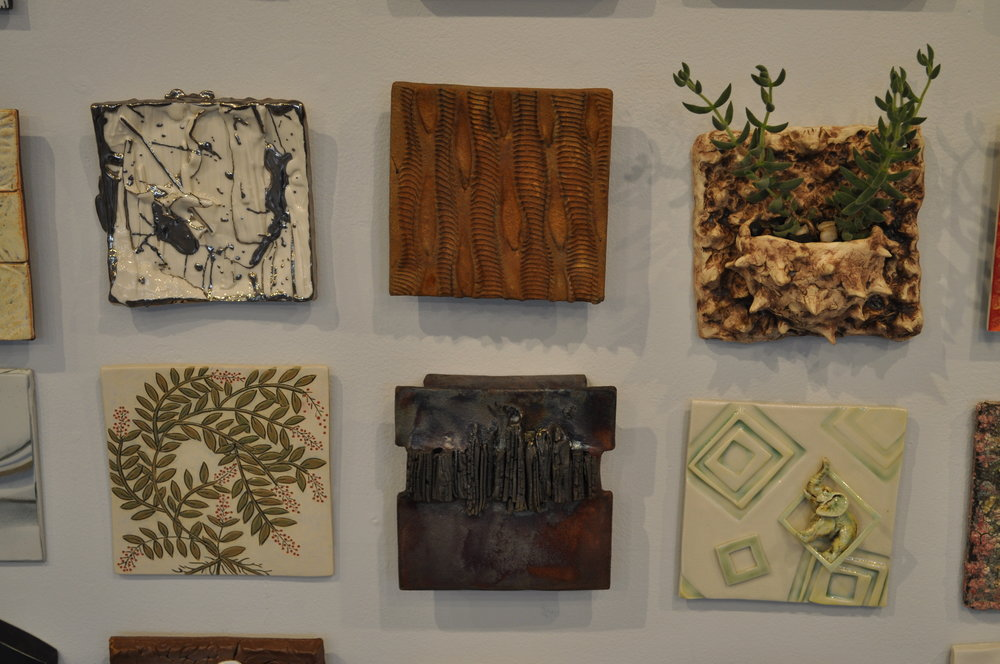 1 . Heather Mae Erickson,  Tile: From perfect imperfection collection: Bird series  $150  2.  Bob Miranti,  Transition  $75  3 . Leigh Taylor Mickelson,  Tile Planter  $70  4.  Lorna Awalt,  Crepe Myrtle  $45  5.  Lily Schor,  city at night  $150  6.  Sally Ng,  Green Square 2  $65