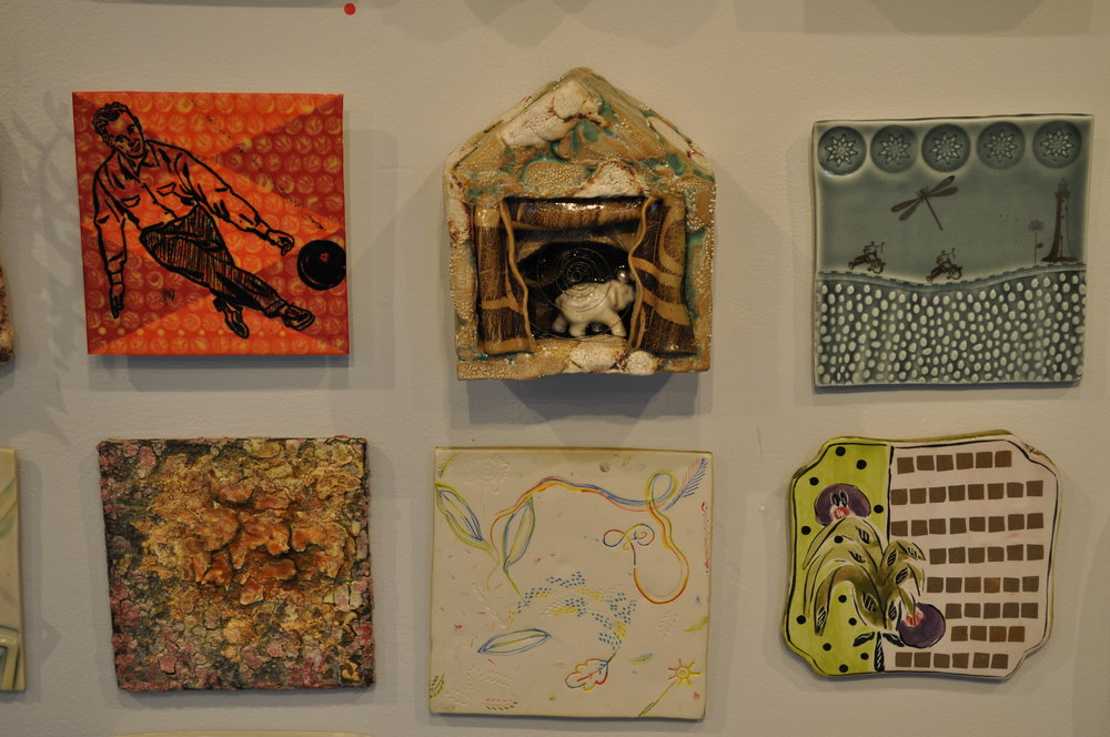 1.  Don Reynolds,  Bowl-A-Rama (Daddy's Balls)  $65  2.  Heather Houston,  Temple Tile  $800  3.  Loren Maron,  Steel Blue Tile  $95  4.  John Chwekun,  Untitled  $100  5 . Liz Quackenbush,  Air  $60  6 . Posey Bacopoulos,  Gold Squares Tile  $60