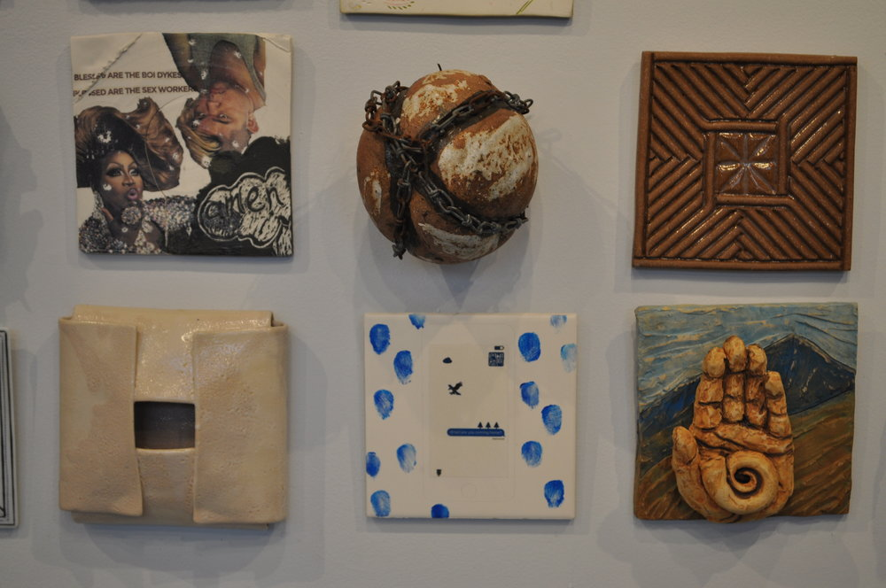 1 . Dustin Yager,  Compostion 3  $120  2.  Mark Chatterley,  Bound  $125  3.  David MacDonald,  Carved Stoneware Tile 2  $50  4.  Mary Kay Botkins,  White Tile 2  $40  5.  Adam Chau,  Call Me  $75  6.  Grace Fraioli,  Journey 2  $600