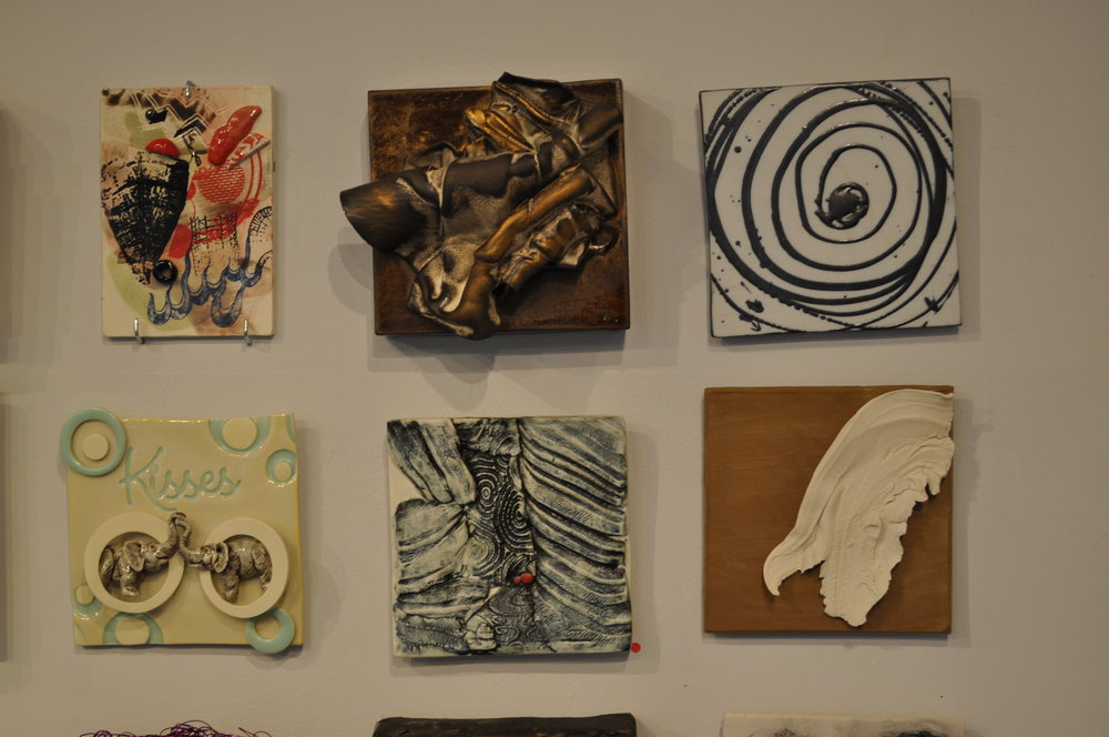 1.  Liz Biddle,  Cloud Effect  $80  2.  Judith Weber,  Untitled 2  $200  3 . Reena Kashyap,  Whirlpool  $50  4.  Sally Ng,  Kisses Blue  $65  5.  Roberta Shapiro,  Cave (red dots)  (SOLD)  6. Brooke Evans,  Earth Angel 2  $65