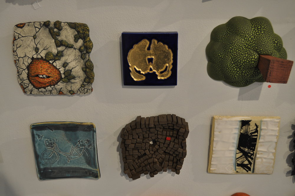 1.  Julie Elkins,  Movement on it's own  $400  2.  Bri Murphy,  Coronal Slice Geode Tile (Blue-Edition 2 of 3)  $200  3 . Jonathan McMillan,  Untitled  (SOLD)  4.  Robin Henschel,  Spring jaunt  $50  5.  Harold Silverman,  Vermilion Spot #2  $90  6.  Helayne Friedland,  Branches tile 4  $75