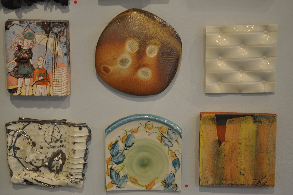 1.  Shanna Fliegel,  The End of School  $250  2.  Tara Wilson,  Tile    $150  3 . Kyla Toomey,  Untitled  $65  4.  Heather Mae Erickson,  Tile: From perfect imperfection collection: Bird series  $150  5.  Deborah Bedwell,  Cotswold    (SOLD)  6.  Nicholas Bernard , Tile  $50