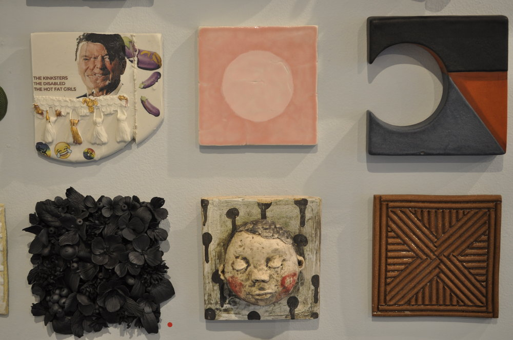 1.  Dustin Yager,  Compostion 4  $120  2.  Ron Geibel,  Pink on Pink  1 $150  3.  Logan Wall,  Wall Tile #1  $85  4.  Rain Harris,  Jardin Noir 1  (SOLD)  5.  Kensuke Yamada,  Wall Tile 3  $150  6.  David MacDonald,  Carved Stoneware Tile 3  $50