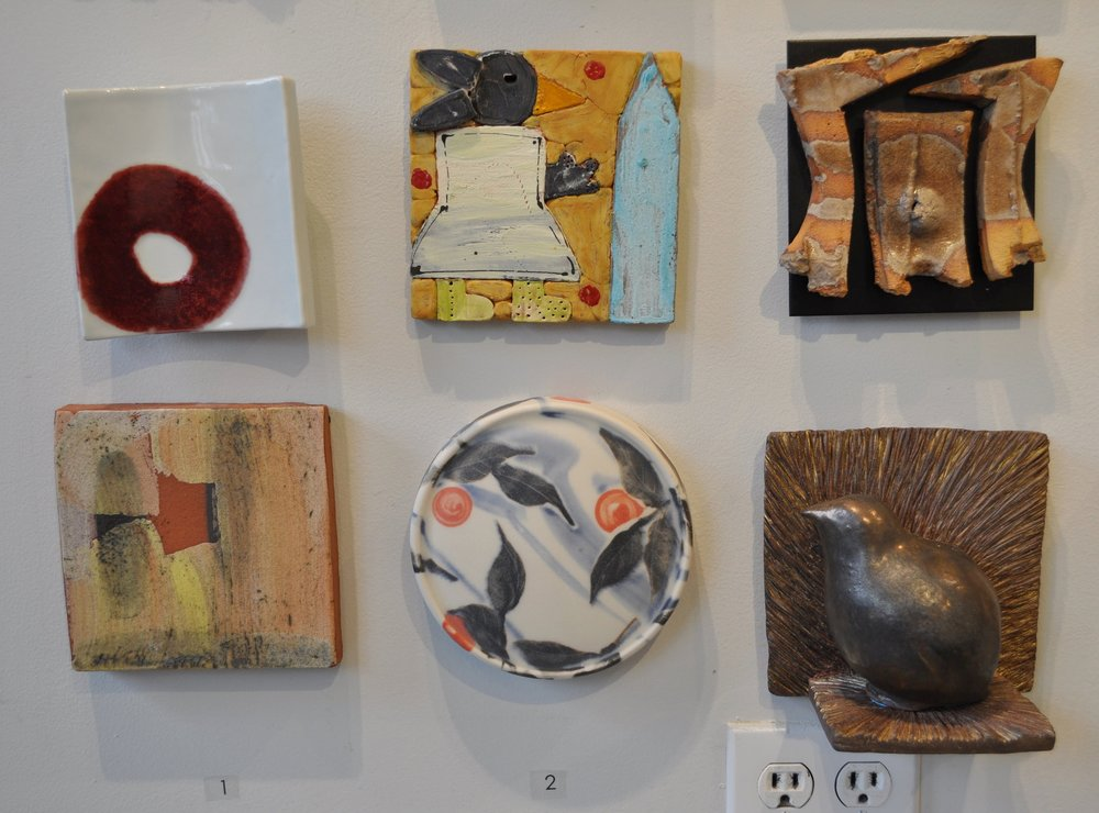 1. Sarah Koster,  Untitled  $60 2. Marilyn Richda,  Untitled  $325 3. Jeff Shapiro,  Untitled  $250 4. Nicholas Bernard,   Tile  Sold 5. Sean O'Connell  Tile  $90 6. Deborah Lecce  Bird Tile  $120