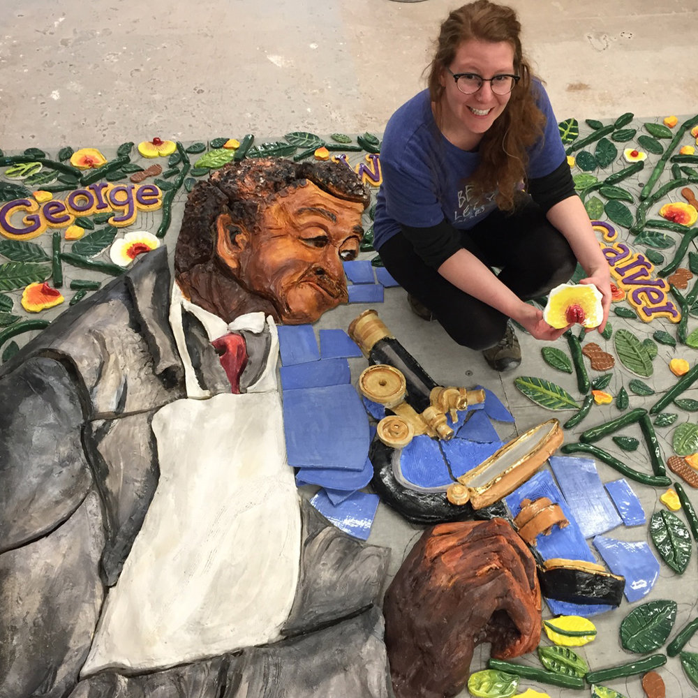 Community Arts Manager, Kelly O'Sullivan with George at CAC