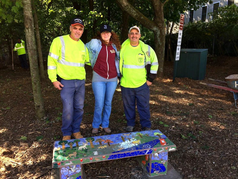 White Plains DPW installation crew with Community Arts Manager, Kelly O'Sullivan