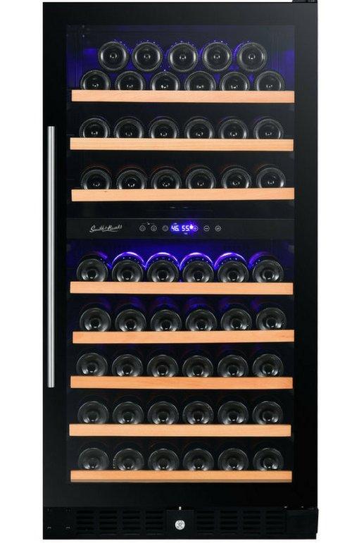 89 Bottle Dual Zone Wine Cooler Dual Zone Smoked Glass Door Wine