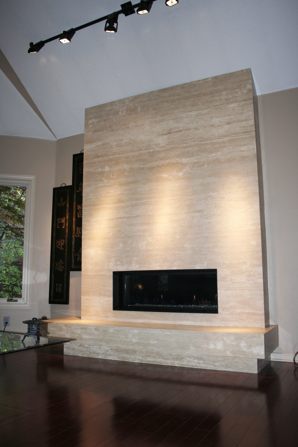 Ivory Travertine. Fireplace. Mitered Edges 2.jpg