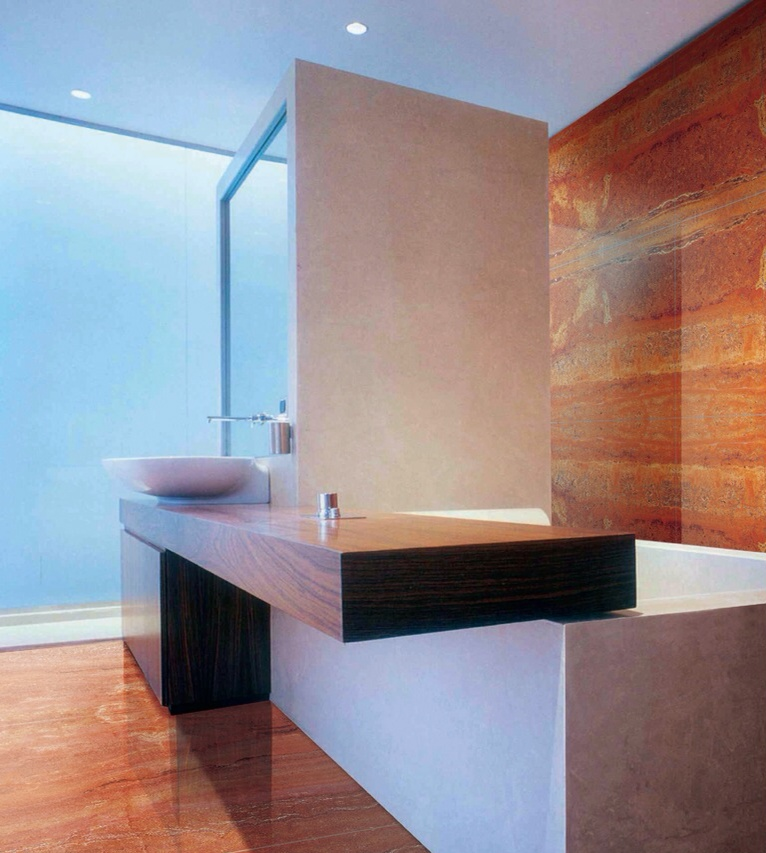 Red Travertine. Bathroom.JPG