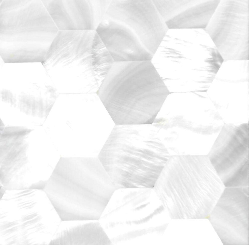 Hexagon River Shell Mosaic Panel