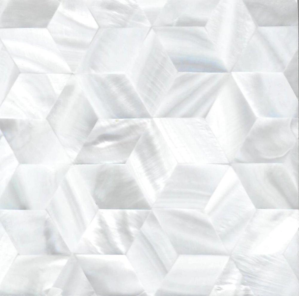Rhombus White River Shell Mosaic Panel