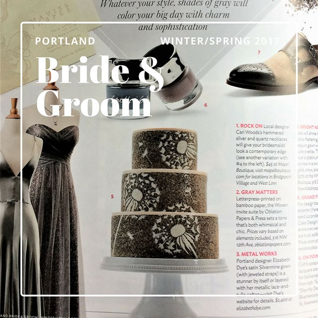 Dandelion cake for Portland Bride and Groom's Winter/Spring 2017 issue.  Let's hear it for Grey Cakes. #entremetweddingcake #modernweddingcake #decorativejaconde #entremet