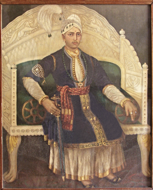 Maharaja Swathi Thirunal Rama Varma on his Ivory Throne (Image Courtesy: Rangavilasam Palace Museum)