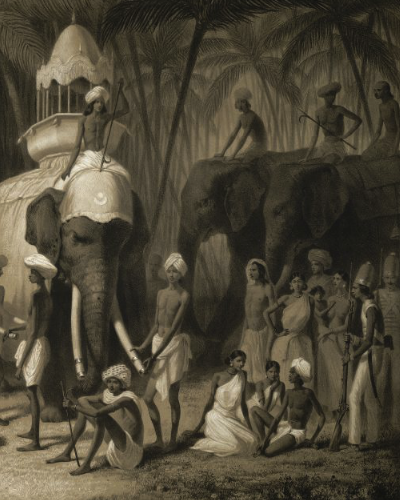 Detail of lithograph showing the group of people gathered to watch the scene along with soldiers of the British East India Company.