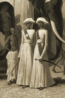 Detail of two young men in North-India servant attire.
