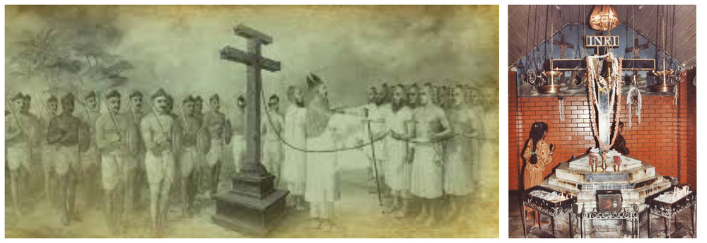 Left: A contemporary depiction of the Oath of Coonan Cross; Right: Coonan Cross (identified as the original cross from 17th century) at the Chapel outside Our Lady of Life Church, Mattancheri, Kochi, Kerala