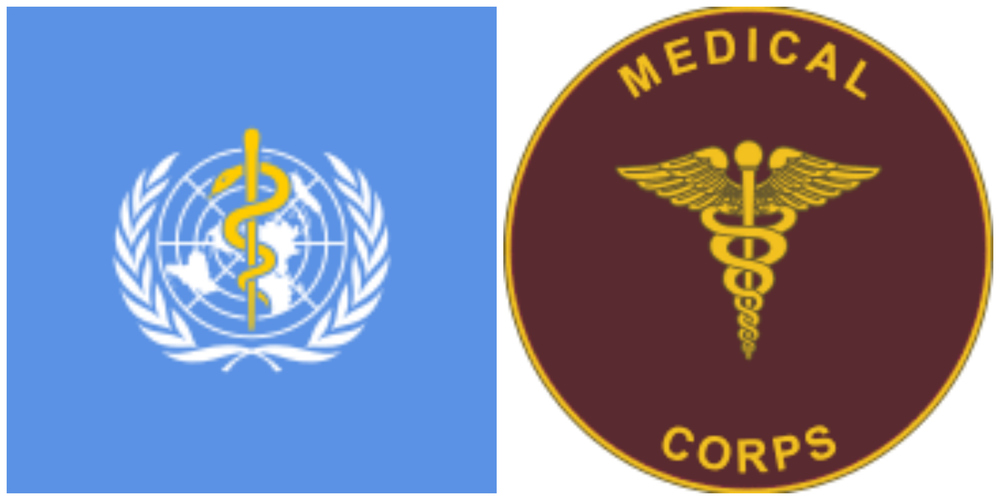 Left: Emblem of United Nations World Health Organization (showing rod of Asclepius at the center); Right: Emblem of US Army Medical Corps from 1906 displaying Caduceus