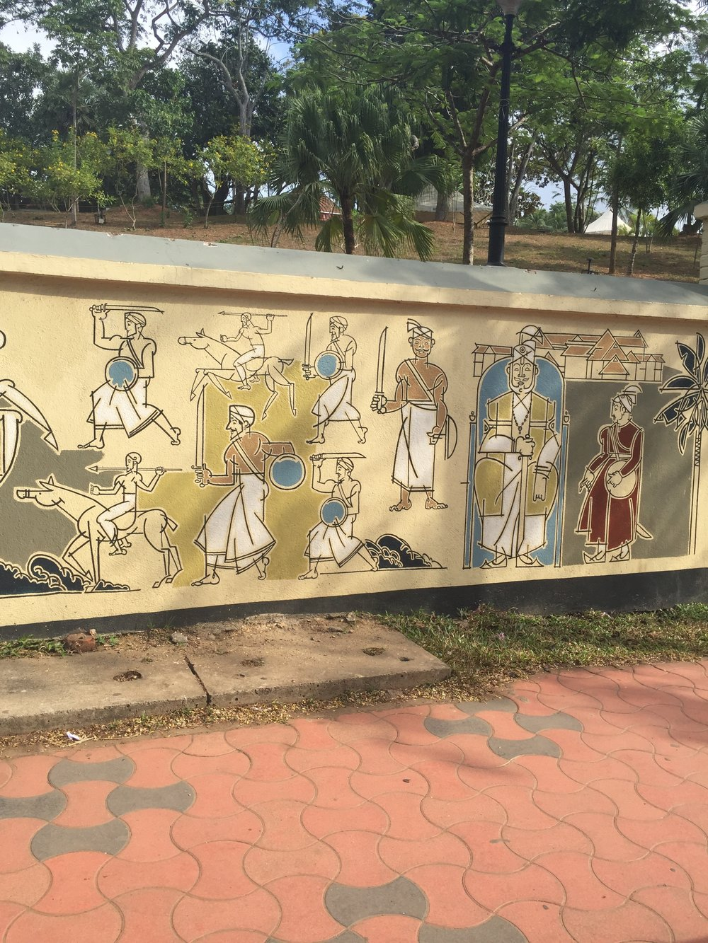Fig 5. Latter-half of Tipu Sultan Mural Showing Karthika Thirunal Dharma Raja, late-18th century