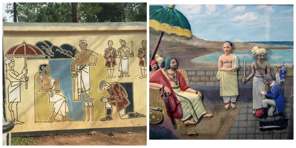 De Lannoy's surrender to Marthanda Varma (Left: mural; Right: painting at Padmanabhapuram Palace museum, c.2000s)