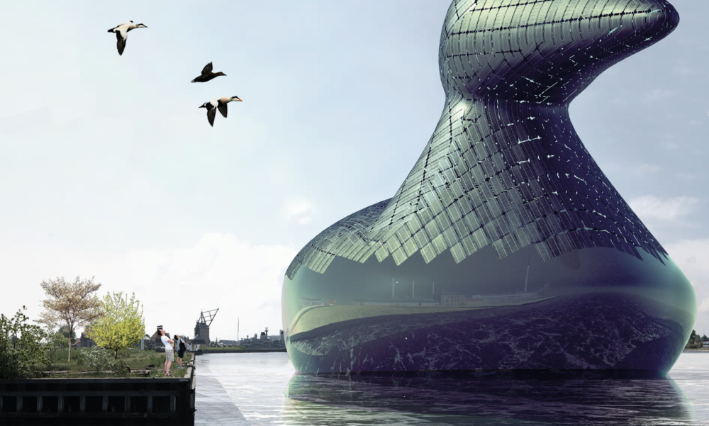 This rendering shows an aquatic bird concept, designed by a group of London-based designers, which would be outfitted with enough hydraulic turbines and solar cells to power an entire neighborhood. Photograph: Hareth Pochee, Adam Khan, Louis Leger, Patrick Fryer