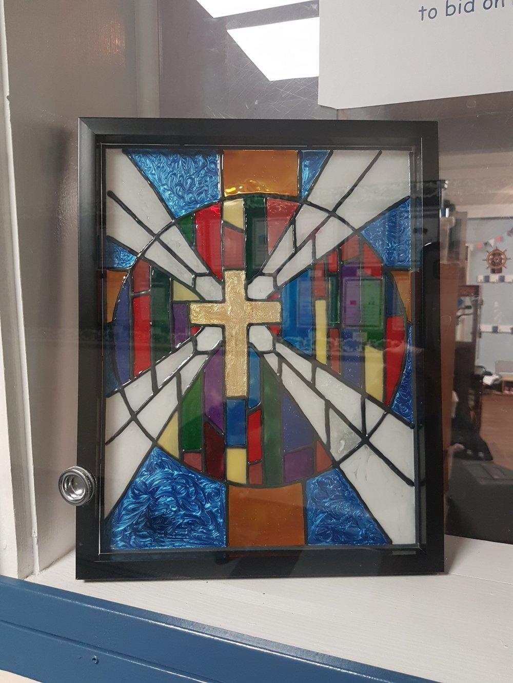 Grade 2 - handpainted stain glass window