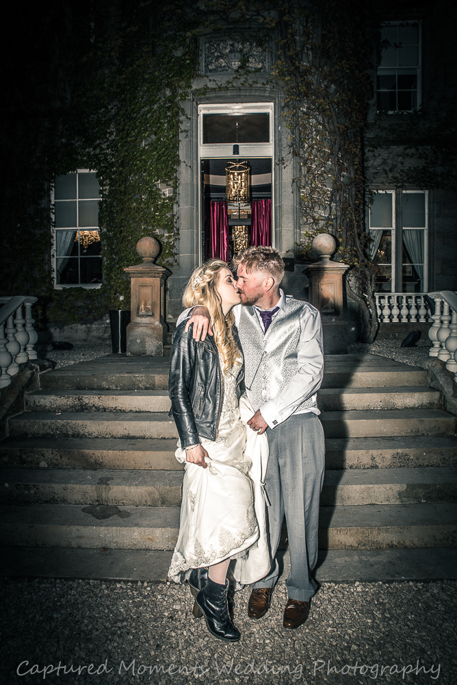 bride and groom carlowrie castle