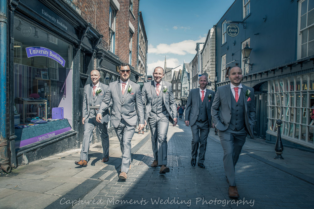 wedding durham city lads out for a walk