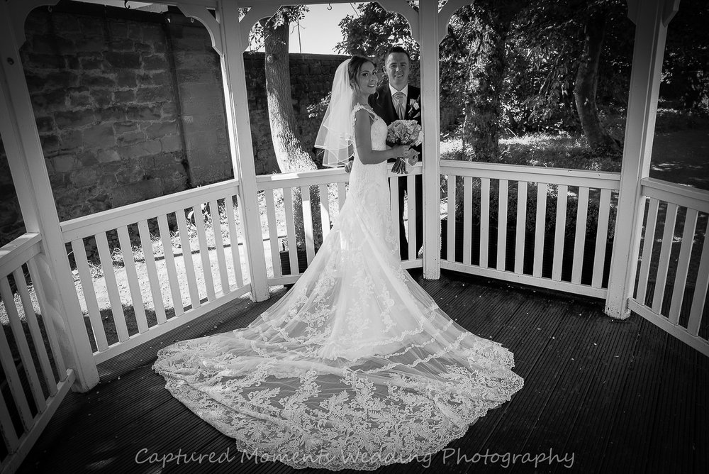 bride and groom black and white image