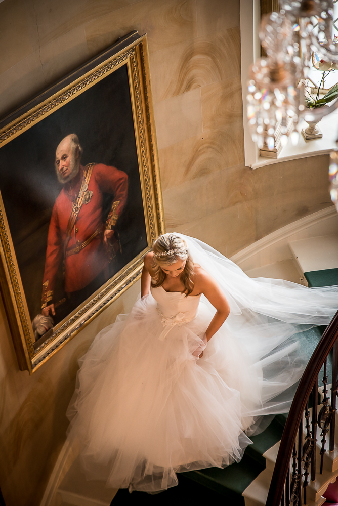 Northumberland Bride running down stairs