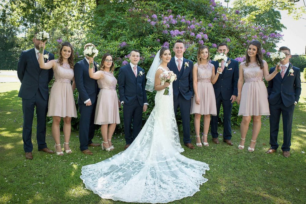 Northumberland bride and groom with wedding party
